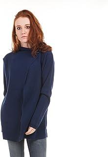 Giacca Cardigan Oversize Donna con Elegante Bottone sul Collo in 100% Lana Merino Extrafine