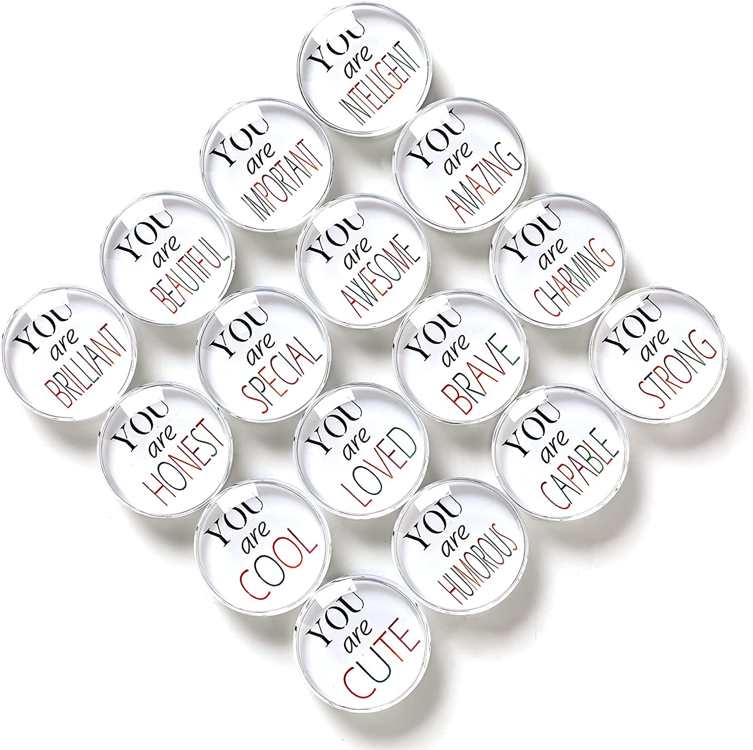 16pcs Refrigerator Magnets, Crystal Glass Active Letter Pattern Fridge Magnets for Home Office Cabinets, Whiteboards, Photos, Beautiful Decorative Magnets Gift