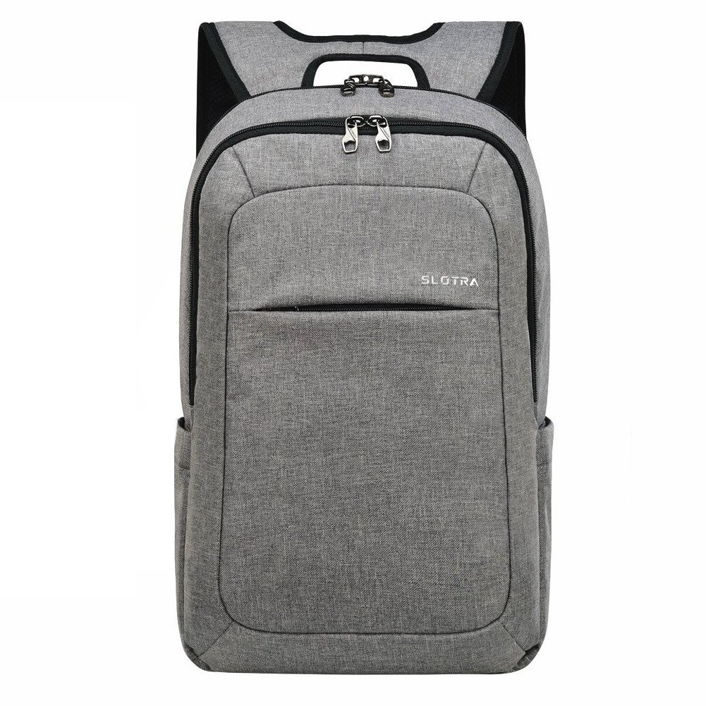 "SLOTRA 15.6"" Slim Anti-Theft Laptop Backpack with USB Charging  Port,Business Backpack for Men Women Work College (Light Grey 510)"