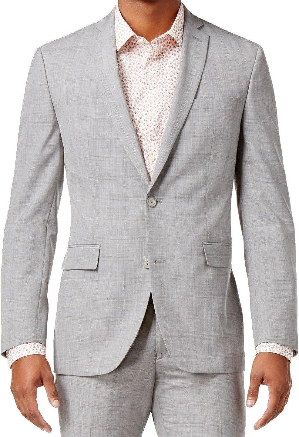 bar III Mens Slim Fit Plaid Two Button Blazer Jacket