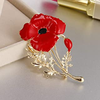 Charming Brooch Crystal Women Mens Brooch Corsage Collar Pins Fashion Jewelry | Color - Red Carnation flower