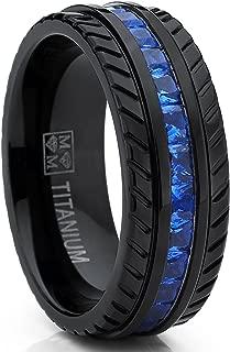 Metal Masters Co. Men's Black Titanium Wedding Band, Engagement Eternity Ring W/Princess Cut Deep Blue Cubic Zirconia CZ