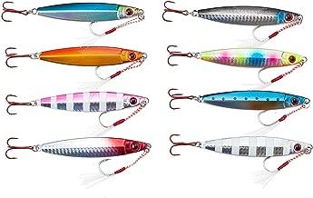 【オルルド釣具】メタルジグD 8色セット(5サイズ:20g、30g、40g、60g、80g)アシストフック付 &魚に見えにくい赤フック採用 オールシーズン対応 シーバス・ヒラメ・マゴチ・タチウオ・サゴシ・ハマチなどに qb100137