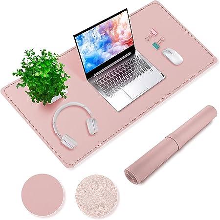 Sous main rose Tapis bureau antidérapant en daim avec bords cousus 80 x 40cm en cuir PU Sous-main de protection imperméable pour bureau à domicile