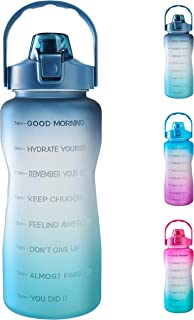 64oz Leakproof Free Drinking Water Bottle with Motivational Time Marker BPA Free for Fitness, Gym and Outdoor Sports (Nav...