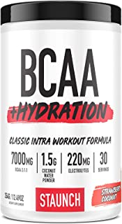 Staunch BCAA Powder - BCAA + Hydration Complex - Strawberry Coconut 30 Servings - Recovery and Coconut Water Hydration Bra...