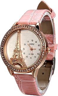 Avaner Rosa Reloj para Mujer La Torre Eiffel con Diamantes Reloj de Pulsera para Chica, Diseño Vintage Romantico Regalo Di...