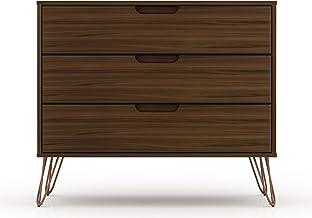 "Manhattan Comfort Rockefeller Mid-Century Modern 3 Drawer Bedroom Dresser, 35.24"", Brown"