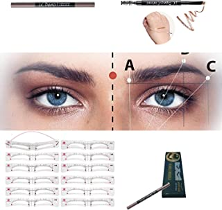 Eyebrow Stencils 12pcs Shapes Reusable Eyebrow Template with Strap for Women Girls,Including eyebrow pencil