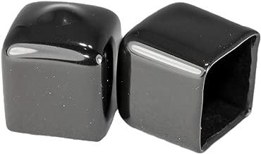 Prescott Plastics 8 Pack: Square Black Vinyl End Cap, Flexible Pipe Post Rubber Cover (1/2