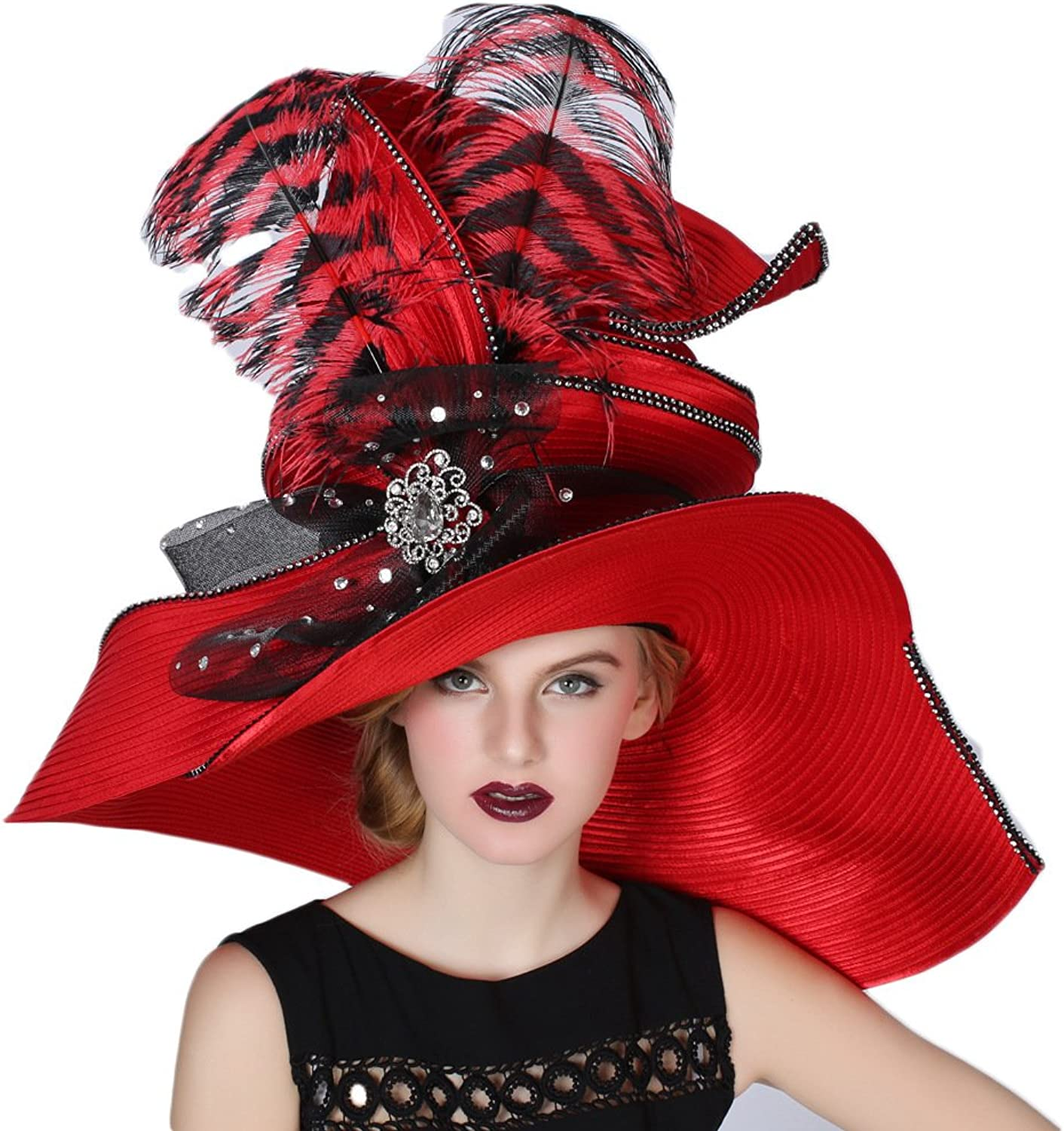June's Young Women Hats Large Brim Large Feather Church Party Fedoras Red