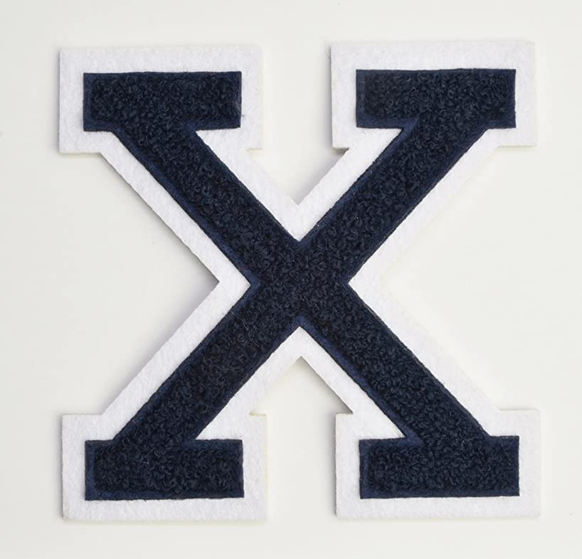 Varsity Letter Patches - Dark Navy Blue Embroidered Chenille Letterman Patch - 4 1/2 inch Iron-On Letter Initials (Navy Blue, Letter X Patch)