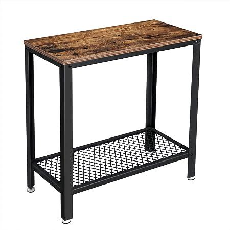VASAGLE Table d'appoint, Table de Chevet, Bout de canapé, avec étagère grillagée, pour Salon, Chambre, Style Industriel, Marron Rustique et Noir LET31BX