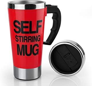 17oz Coffee Milk Automatic Mixing Cup Self Stirring Mug Stainless Steel Thermal Cup Electric Lazy Smart Double Insulated Cup (red)
