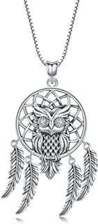 Dream Catcher Necklace with Owl for Women Men,Sterling Silver Vintage Owl Dangling Feather Pendant 18 Chain,Lucky Amulet Friendship Necklace Jewelry Ideas Gift for Teen Girl Women- Oxidized Effect