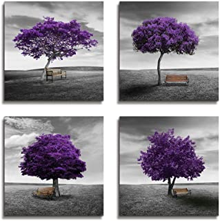 Wall Art Bedroom Wall Decor Canvas Print Purple Trees Modern Landscape Framed Artwork - 4 Panels Wall Painting Black And White Style Tree Wall Art For Living room Home Office Bathroom Decorations
