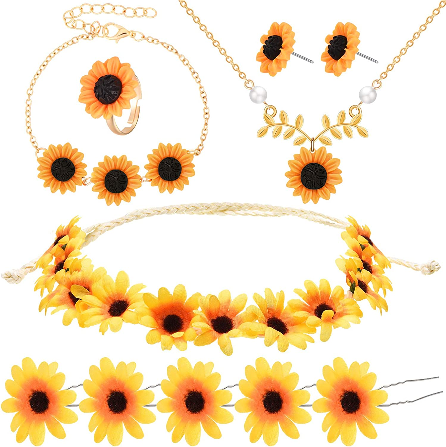 10 Pieces Sunflower Pendant Faux Pearl Chain Necklace Sunflower Charm Bracelet Earrings Ring Sunflower Hair Clip Sunflower Boho Headband Wreath for Women Jewelry Accessories