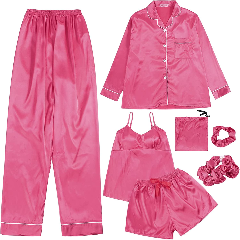 xoxing 7-Piece Pyjamas Woman Cotton Set Lingerie Pants Headband Blindfold Top Satin Dressing Gown Sleepwear Set (A)