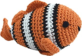 DOGO 100 Dog Teeth Cleaning Cotton Crochet Squeaky Dog Toy for Small Dog - Clown Fish