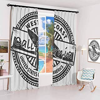 Ride The Wave Studio partition Living Room Curtain West Coast California United States of America Grunge Vintage Stamp Print for Living Room or Bedroom W52 x L54 Inch Grey White