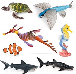 Sea Creature Toys VOLNAU 7PCS Indian Ocean Sea Animals Figurines Shark Toys for Toddlers Kids Christmas Birthday Gift Plas...