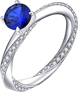 YL Solitaire Engagement Rings 925 Sterling Silver Round 6mm Birthstones Wedding Jewelry for Women
