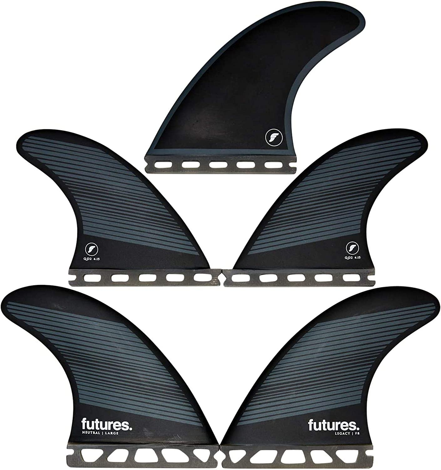 Futures F8 Manufacturer OFFicial shop Legacy Five Free shipping on posting reviews Fin Set Gray Black