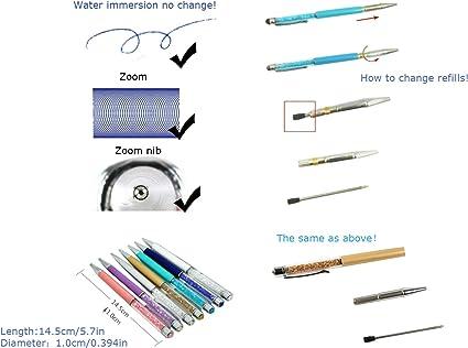Pack of 10 MengRan 2.75 Ballpoint Pen Refills for Diamond Crystal Stylus Pens and Ballpoint Pens,Metal Refill,Black Ink,