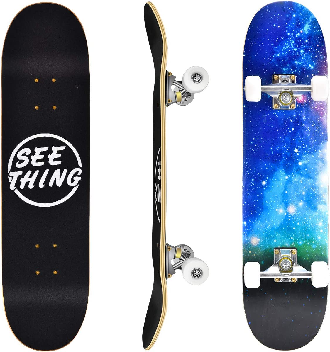 """31"""" Standard Skateboards for Beginners, 7 Layer Canadian Maple Double Kick Concave Standard and Tricks Skateboards for Kids and Beginners(Blue Skyscape) : Sports & Outdoors"""