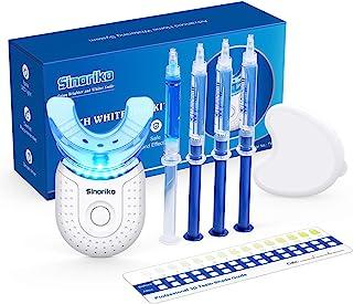 کیت سفید کننده دندان با نور LED 6X برای دندانهای حساس 10 دقیقه نتیجه سریع ، 3 ژل سفیدکننده پراکسید کربامید 1 ژل بازسازی کننده ، سینی دهان سایه دار با کیف