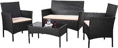Homall 4 Pieces Outdoor Patio Furniture Sets Rattan Chair Wicker Set,Outdoor Indoor Use Backyard Porch Garden Poolside Balcon