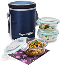 Signoraware Executive Glass Lunch Box Set with Bag, 400ml/16cm, 3-Pieces (with 3 seals), 1 bag, Transparent