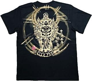 十一面千手観音 Tシャツ 白黒 半袖 和柄 仏画 日本画 手描き 墨絵 伯舟庵