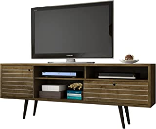 Manhattan Comfort Liberty Collection Mid Century Modern TV Stand With Three Shelves, One Cabinet and One Drawer With Splayed Legs, Wood
