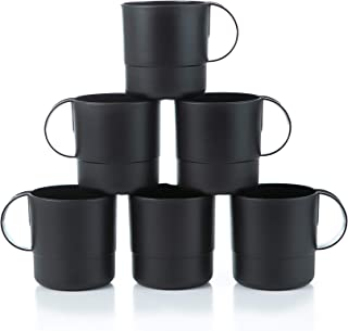 Amuse- Eco Friendly Sturdy Unbreakable & Stackable Mugs for Water, Coffee, Milk, Juice, Tea- Set of 6-11 oz (Black)
