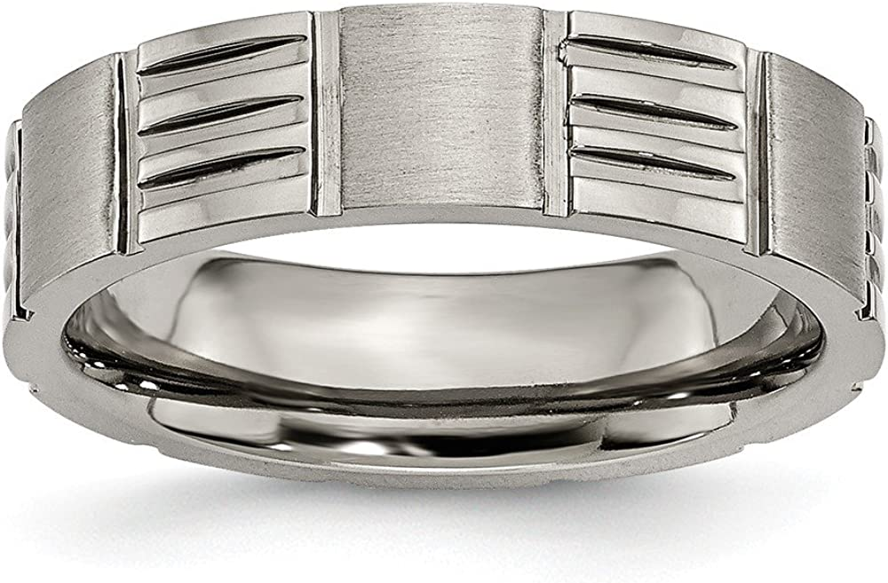 ICE CARATS Titanium 6mm Notched Wedding Ring Band Fancy Fashion Jewelry for Women Gifts for Her