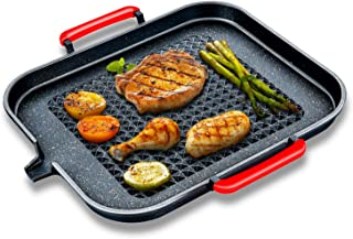 IAXSEE Non Stick Grill Pans Indoor Induction Grill Pan, 12 inch Stove Top Cast Iron Grill Pan with Double Loop Handles and...