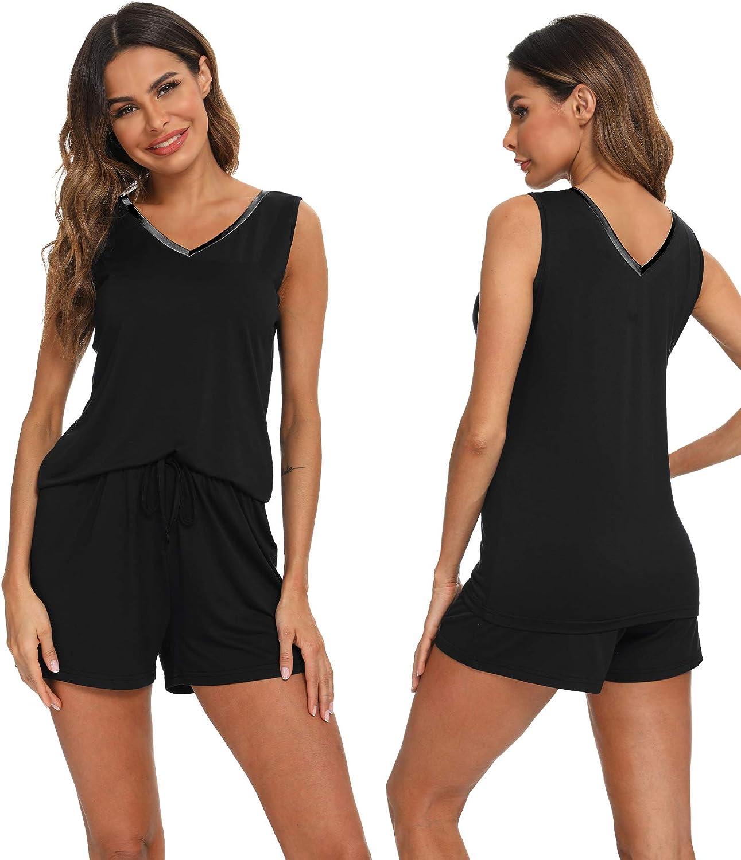 Hefunige Womens Modal V-Neck Pajama Set Comfy Sleeveless Sleepwear Pjs Petite Plus Size S-4XL