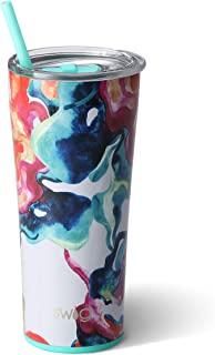 Swig Life Stainless Steel Signature 22oz Tumbler with Spill Resistant Slider Lid and Reusable Straw in Color Swirl