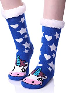 Womens Cute Animal Unicorn Fuzzy Slipper Socks Winter Soft Warm Fleece Lining Knit Christmas Socks With Grippers
