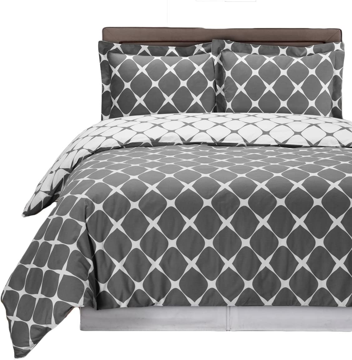 8PC Bloomingdale Grey and White California Bed Japan Maker New in Ba Size King a NEW before selling ☆