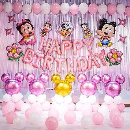 Amazon Com Juego De Globos Con Temática De Minnie Mouse Para Decoración De Fiesta De Cumpleaños Incluye Diademas Inflables De Minnie Health Personal Care