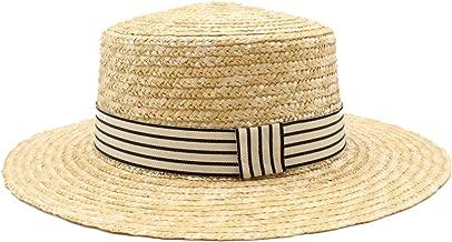 Women Wheat Straw Hat Ribbon Tie Brim Boater Beach Sun Hat Cap Lady Summer Wide Brim Hats