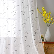 VISIONTEX White Sheer Curtains Grey Leaves Embroidery Faux Linen Rod Pocket Curtains for Living Room 54 x 95 Inch, Set of 2 Curtain Panels