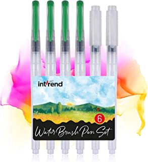 int!rend Premium Water Brush pens - Set of 6 refillable Water Brush pens for Watercolors | Watercolor Brushes for Painting, Bullet Journal, Calligraphy, handlettering
