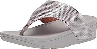 FitFlop Olive Textured-Glitz Toe-Post womens Wedge Sandal