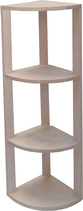 Expovinalia Estantería Rinconera, Pino, Blanco, 30 x 30 x 105 cm