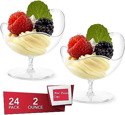 Preisvergleich für Mini Dessert Becher, Einweg-Becher mit Standfuß aus durchsichtigem Kunststoff, Schüsseln, Aperitif-Schalen, 24 Stück