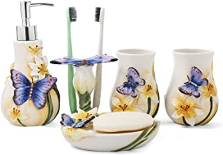 FORLONG Ceramic Bathroom Accessory Set Dancing Butterfly Ceramic 5 Pieces Set,Including Toothbrush Holders,2 Gargle Tooth-Brushing Cups,Soap Dishes,Soap & Lotion Dispenser