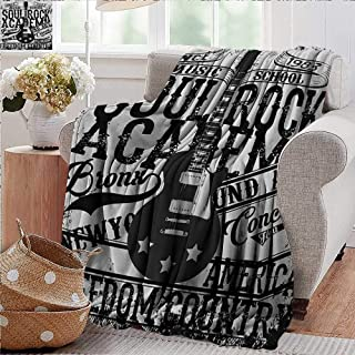 PearlRolan Flannel Throw Blanket,Retro,Soul Rock Academy Theme Music School Electric Guitar Freedom Poster Like Image,Beige and Black,Winter Luxury Plush Microfiber Fabric 50